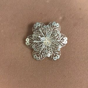 Coin Silver Filigree Flower Pin